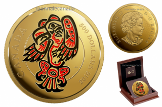 2016 - $500 - 5 oz. Pure Gold Coin with Enamel – Mythical Realms of the Haida Series: The Eagle