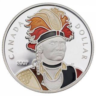 2007 Proof Enamel Silver Dollar - Joseph Brant