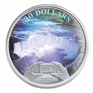 2007 - $30 - Sterling Silver Coin - Panoramic Picture - Niagara Falls