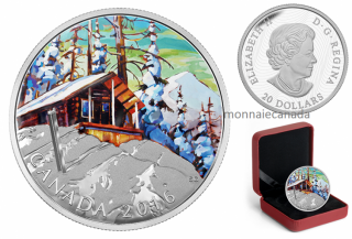 2016 - $20 - 1 oz. Fine Silver Coloured Coin – Canadian Landscape Series: Ski Chalet