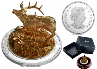 2017 - $100 - Pure Silver Gold-Plated Coin – Sculpture of Majestic Canadian Animals: Elk