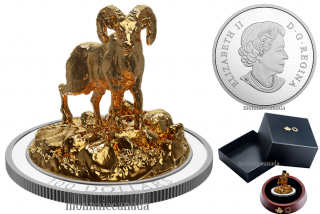 2017 - $100 - 10 oz. Silver Gold-Plated Coin - Sculpture of Majestic Canadian Animals: Bighorn Sheep