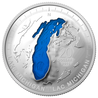 2015 - $20 - 1 oz. Fine Silver Coin - Lake Michigan