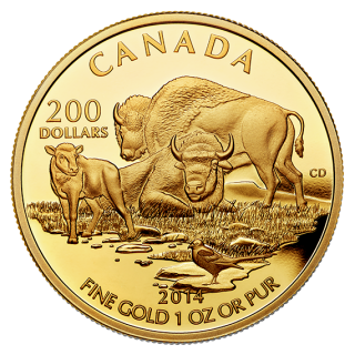 2014 - $200 - 1 oz. Pure Gold Coin - The Bison at Home on the Plains
