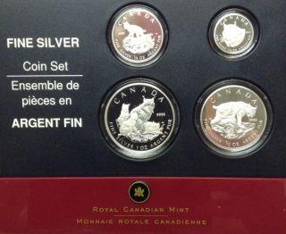 2005 Lynx Proof Set of 4 Silver Coins .9999 Fine (1oz - 1/10oz)