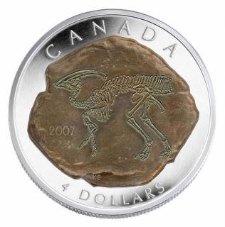 2007 - $4  fine silver coin parasaurolophus DINOSAUR