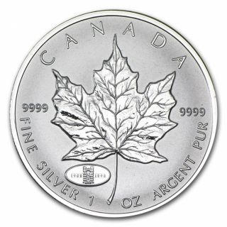 1998 - 1908-1998 - RCM Anniversary Privy Mark 1oz. Fine Silver Maple Leaf (TAX Exempt)