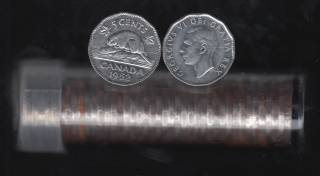 1952 Canada 5 Cents - 40 Coins in Plastic Tube