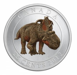 2012 Dinosaur Pachyrhinosaurus Lakustai - 25-Cent Coloured Glow-in-the-dark Coin