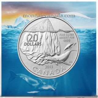 2013 - $20 for $20 Fine Silver Coin - Iceberg and Whale