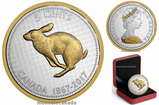 2017 - 5 Cents - 5 oz. Pure Silver Coin - Big Coin Series: Alex Colville Designs: 5-Cent Rabbit