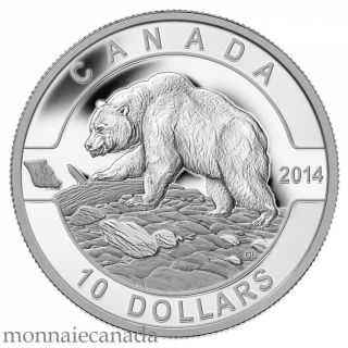 2014 - $10 - 1/2 oz. Fine Silver Coin - O Canada - Grizzly Bear