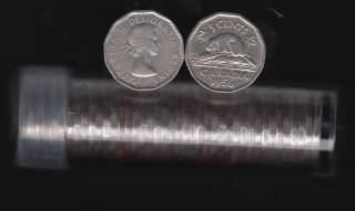 1956 Canada 5 Cents Roll - 40 Coins in Plastic Tube