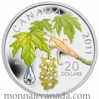 2011 - $20 Fine Silver Coin - Maple Leaf Crystal Raindrop