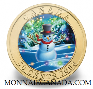 2008 - 50-Cent Holiday Snowman Coin - Lenticular