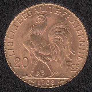 France 1908 Rooster - 20 Francs Gold - 6,45 gr. - 0.900 Gold - 0.1855oz