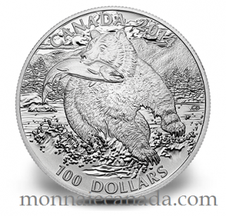 2014 - $100 for $100 Fine Silver Coin - The Grizzly