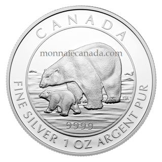 2015 - $5 - 1 oz. Fine Silver Coin – Polar Bear and Cub