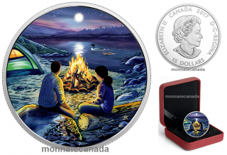 2017 - $15 - Great Canadian Outdoors: Around the Campfire - Pure Silver Glow-in-the-Dark Coin