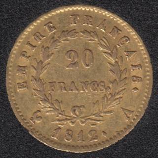 France 1812 A Napoleon Bonaparte - 20 Francs Gold - 6,45 gr. - 0.900 Gold - 0.1867oz