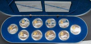 1990-1994 $20 Argent Sterling Épreuve Séries Aviation #1 - Ensemble de 10 Pieces