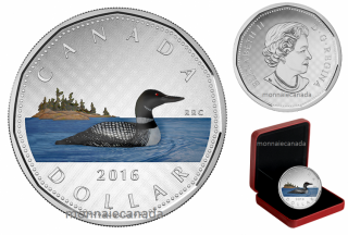 2016 - $1.00 - 5 oz. Fine Silver Painted Coin – Big Coin Series: Dollar