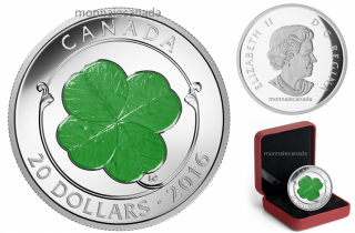 2016 - $20 - 1 oz. Fine Silver Coloured Coin – Four Leaf Clover