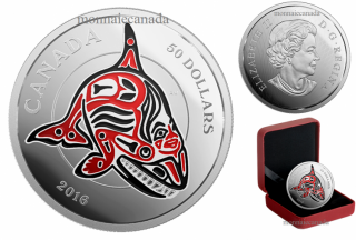 2016 - $50 - 5 oz. Fine Silver Coin with Enamel - Mythical Realms of the Haida Series: The Orca