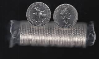 1992 Canada 25 Cents Northwest Territories - BU ROLL 40 Coins - UNC