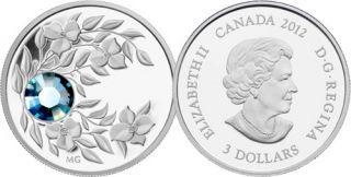 2012 - $3 - March Birthstone (Aquamarine) - Fine Silver Coin
