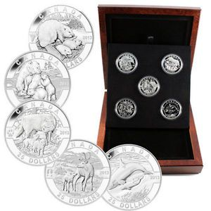 2013 $25 Dollars Fine Silver 5 Coin Set - 5 oz Total  - O Canada Series -  Tax Exempt