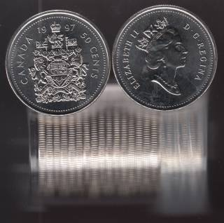 1997 Canada 50 Cents - BU ROLL 22 Coins in Plastic Tube