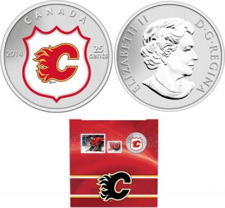 2014 -NHL Coin and Stamp Gift Set - Calgary Flames