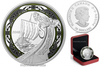 2018 - $20 - 1 oz. Pure Silver Coloured Coin - Norse Figureheads: Northern Fury