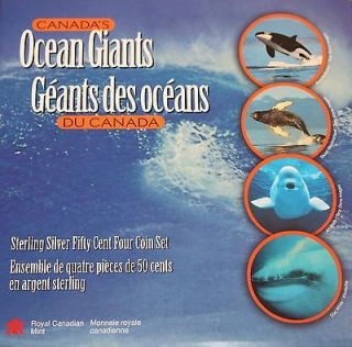 1998 Sterling Silver Fifty cents Four coin Set 50 cent - Ocean Giants