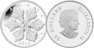 2012 - $20 - Fine Silver Coin - Crystal Snowflake