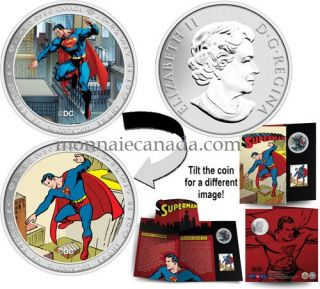2013 - 50 Cents - Lenticular Coin and Stamp Set - Superman™: Then and Now