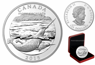 2015 - $125 - Half Kilogram Fine Silver Coin – Conservation Series: The Narwhal