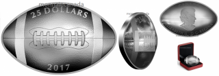 2017 - $25 - 1 oz. Pure Silver Football-Shaped and Curved Coin