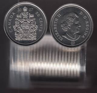 2007 Canada 50 Cents - BU ROLL 22 Coins in Plastic Tube