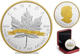 2018 - $10 - 2 oz. Pure Silver Gold-Plated Coin - SML Tribute to 30 Years