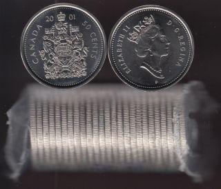 2001 P Canada 50 Cents - BU ROLL 25 Coins Original