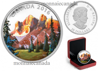 2016 - $20 - 1 oz. Fine Silver Coloured – Canadian Landscape Series - The Rockies