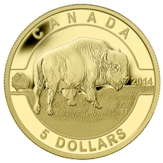 2014 - $5 - 1/10 oz. Pure Gold Coin - Bison