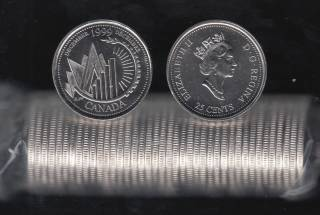 1999 Canada 25 Cents December - BU ROLL 40 Coins - UNC