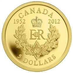 2012 Canada $5 Dollars Fine Gold - Queen's Diamond Jubilee - Royal Cypher