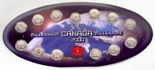 2000 Canada Millenium 25 cents ensemble de 12 pièces +Médallion officiel de la MRC
