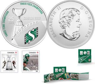 2012 - The Saskatchewan Roughriders - 25-Cent Coloured Coin and Stamp Set