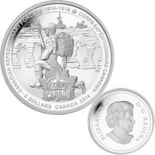 2014 - $5 - Fine Silver Coin - First World War - Canadian Expeditionary Force