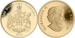 2014 - $300 - 14-Karat Gold Coin - Saskatchewan Coat of Arms